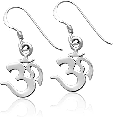 DianaL Boutique Black Stainless Steel Cut Out Om Ohm Aum Symbol Earrings Stud Gift Boxed Fashion Jewelry