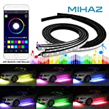 glow lights under car - 4 pcs Mihaz Upgraded Car Underglow Light, Led Glow Under Car Lighting Strips Sound Active Function Running RGB Colors Strip App Control Atmosphere Lights
