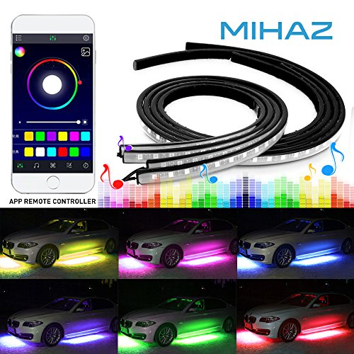 Upgraded Car Underglow Light - MIHAZ 4Pcs Bluetooth App Controlled LED Underbody Neon Lights Strip, Music Under Glow Lighting Kits with Sound Actived Function Running RGB Multicolor Atmosphere Lights ()