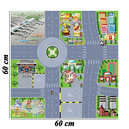 BCP 1 Pcs Airport Traffic Sign Street City Road Map For Playing With Cars And Toys 60 x 60cm