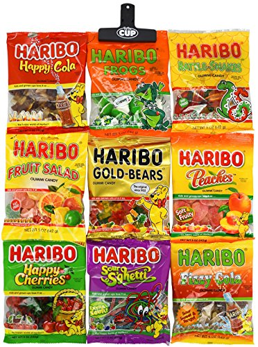 Haribo Gummy Candy Variety Pack with By The Cup Bag Clip (9 Pack) Including: Gold-Bears, Happy Cherries, Fruit Salad, Frogs, Peaches, Happy-Cola, Fizzy-Cola, Sour S'ghetti, & Rattle Snakes (Peach Sour Gummy)