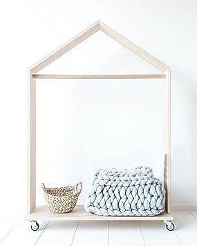 licheng madera accesorio de la ropa con estante y ruedas resistentes, con forma de casa, fácil de montar: Amazon.es: Hogar