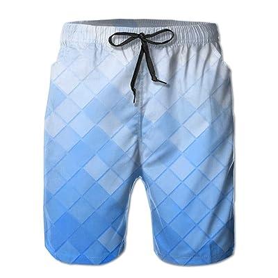 Ncwi Wa White Blue Mosaic Men Quick Dry Swim Trunks Patterned Swimwear Board Shorts Swimsuits
