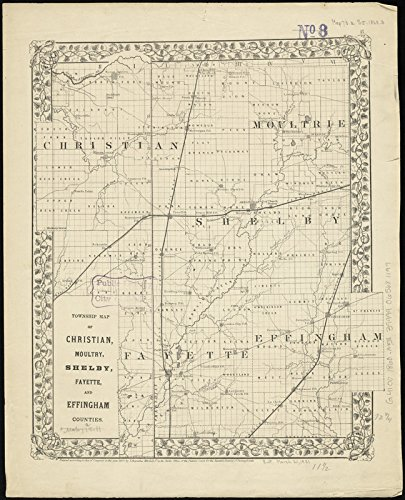 Historic Map | 1868 Township map of Christian, Moultry, Shelby, Fayette, and Effingham Counties | Antique Vintage Reproduction by historic pictoric