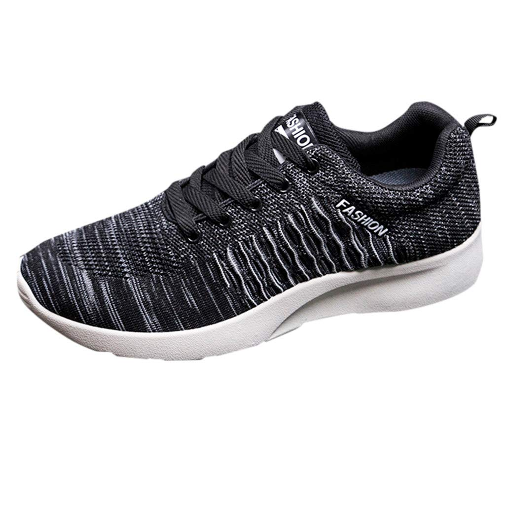 Men's Sneakers - Sunskyi New Flying Woven Breathable Lace-up Lightweight Trend Damping Anti-Skid Sport Running Shoes