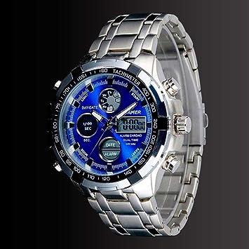 Ociodual Reloj De Pulsera Luz LED Digital Fecha Hombres Acero Inoxidable Analógico Crono: Amazon.es: Electrónica