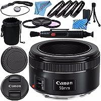 Canon EF 50mm f/1.8 STM Lens 0570C002 + 49mm 3 Piece Filter Kit + 49mm Macro Close Up Kit + Lens Cleaning Kit + Lens Pouch + Lens Pen Cleaner + Fibercloth Bundle