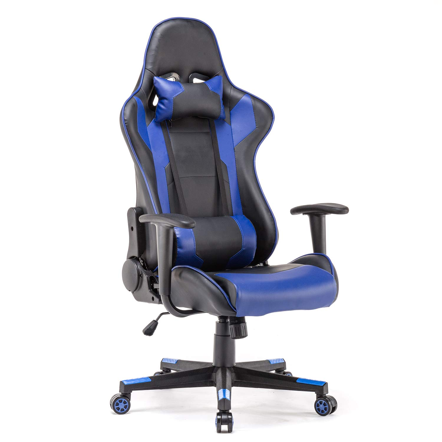Polar Aurora Gaming Chair Racing Style High-Back PU Leather Office Chair Computer Desk Chair Executive Ergonomic Style Swivel Chair Headrest Lumbar Support Blue