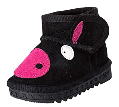 bba2618805413 Cloud Kids Botte Hiver Premiers Pas 3D Animal Pig Âne Fourrure Chaude  Antidérapant Chaussure Ski Neige
