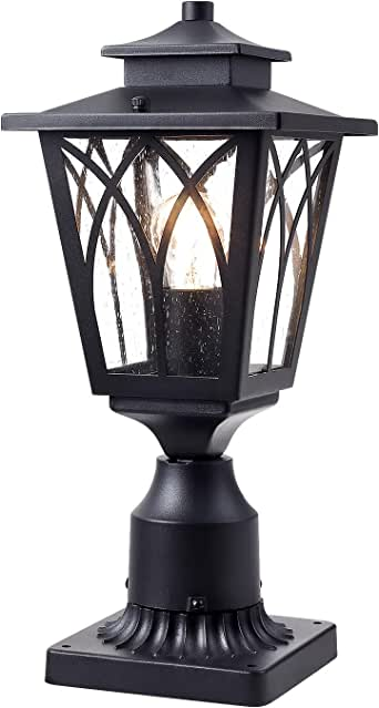 JAZAVA Outdoor Post Light Mounted Fixtures, Exterior Post Lantern LED Street Light with 3-Inch Pier Mount Base One-Light for Patio, Black Finish with Seeded Glass