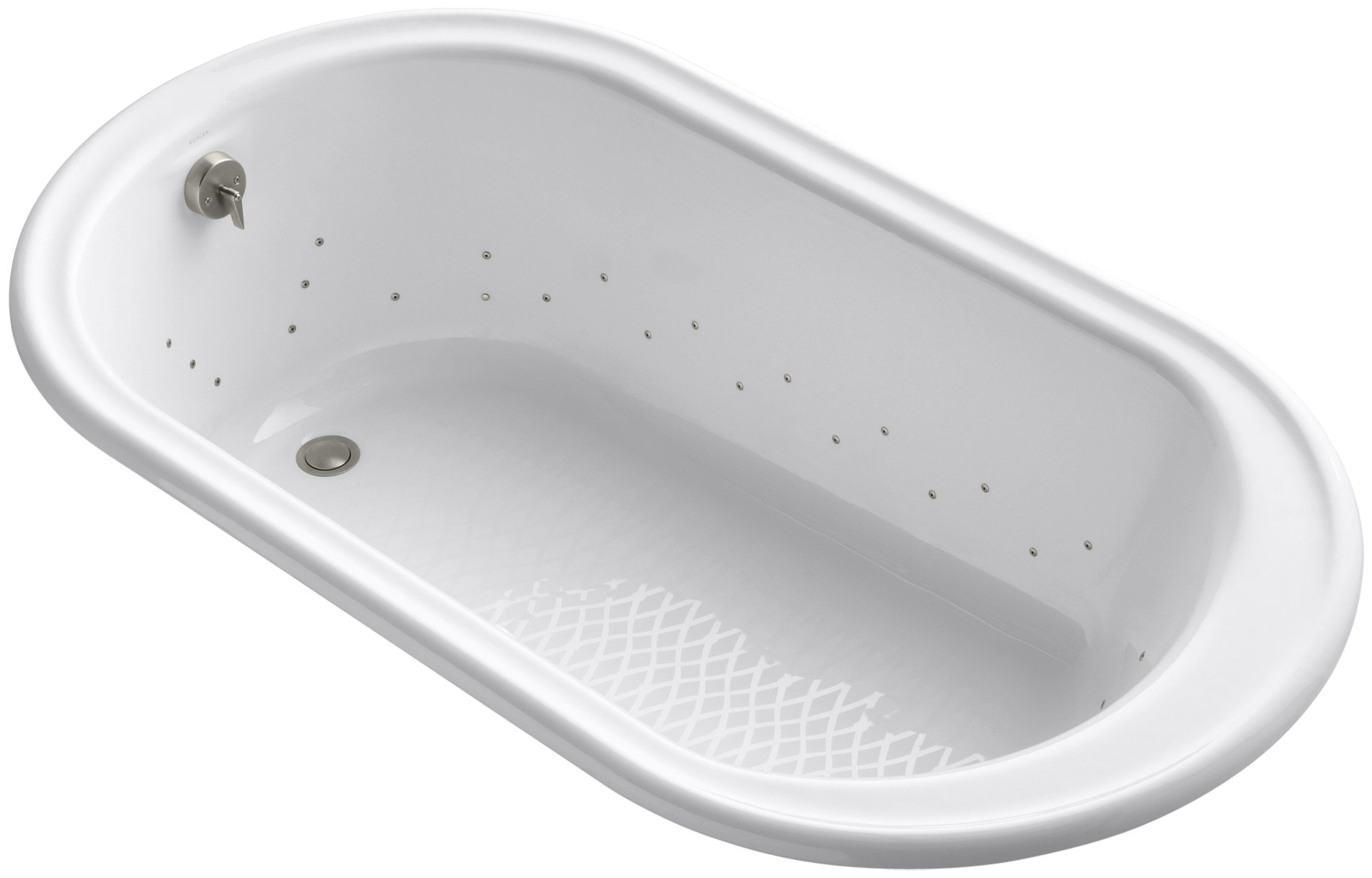 Kohler K-712-GBN-0 Iron Works Bubblemassage 5.5Ft Bath with Vibrant Brushed Nickel Airjet Color, White