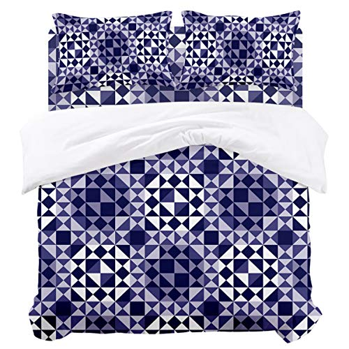 OUR WINGS Duvet Cover Set,Luxury Bedding,Triangles Purple Mosaic Abstract Geometric Pattern King Size,Soft and Comfortable,Duvet Sets with 1 Bed Sheet,1 Quilt Cover and 2 Pillowcases,Multiple Colors