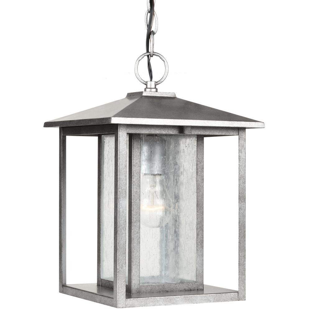 Hunnington One Light Outdoor Pendant in Weathered Pewter with Clear Seeded Glass