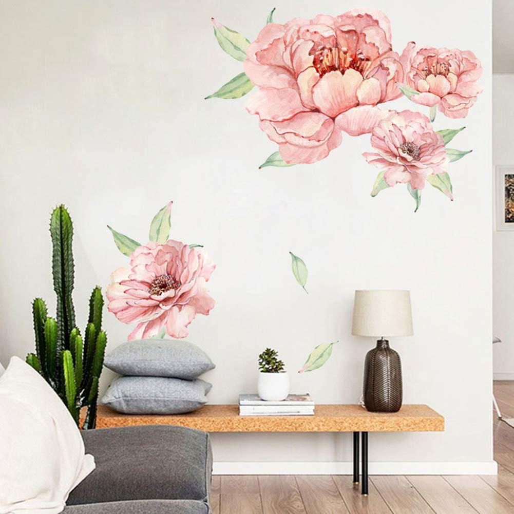 Floral Peony Flowers Wall Decals, Watercolor Rose Wall Sticker, Peonies Blossom Wall Stickers Pink Rose Peel and Stick for Girls Child Room Livingroom Home Bedroom Nursery Room Wall Decor (Pink 2)