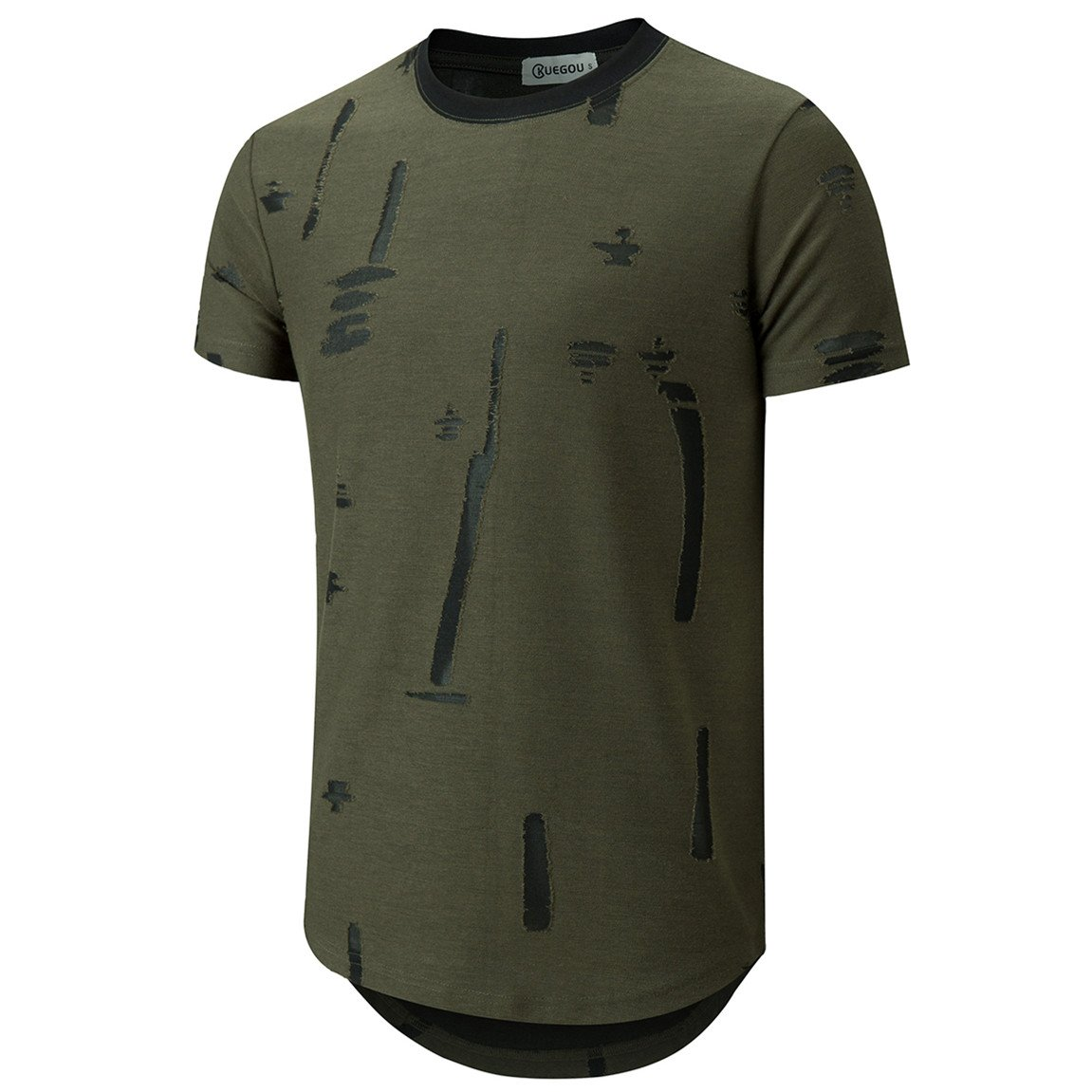 KLIEGOU Mens Hipster Hip Hop Round Hemline Hole T Shirt 1805 (Medium, ArmyGreen)