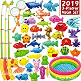 CozyBomB Magnetic Fishing Game Toys Mega Set - 57 Pcs Summer Outdoor Backyard Water Toy with Kiddie Pool, Floating Pole Rod Net Fish - Kids Toddler Education Teaching and Learning Colors Ocean Animals
