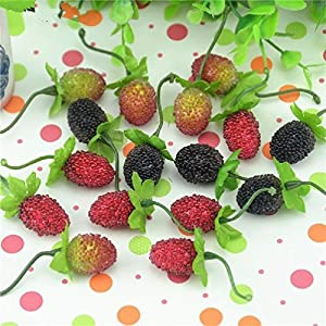 50Pcs Fake Fruit Glass Strawberry Christmas Red Cherry Stamen Mini Berries Artificial Flower Pearlized Wedding Decoration 30