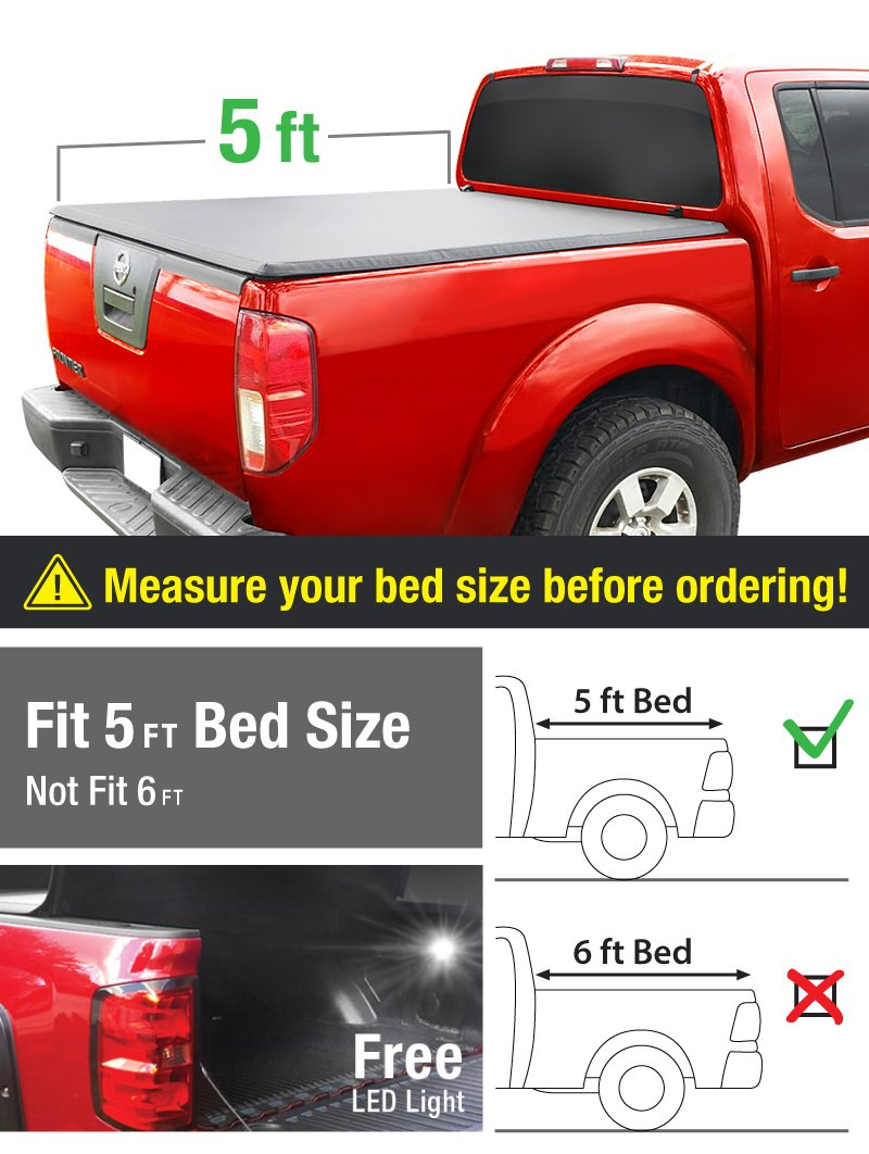 Amazon com premium tcn371028 tri fold tonneau truck bed cover 2005 2017 nissan frontier 2009 2014 suzuki equator fleetside 5 bed for models with or