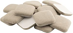 SoftTouch 4715495N Extended Wear Self Stick Square Felt Furniture Pads for Hard and Uneven Surfaces, 1 Inch, Linen, 16 Piece