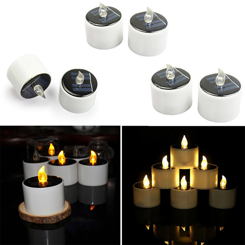 Coohole Warm White Solar Power Flickering Electronic Nightlight LED Flameless Candle, Battery Operated Tealights,Smoke-Free for Wedding, Birthday,Party,Outdoor Hiking Camping (6Pcs)