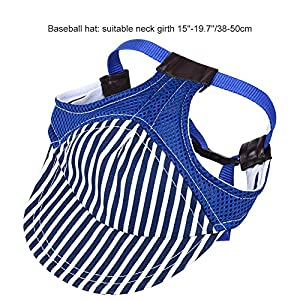 Petacc Dog Baseball Hat and Necktie Set Adjustable Pet Hat and Necktie Cotton Dog Necktie, Stripe Pattern, Suitable for Medium and Large Pets like Golden Retriever, Husky and Samoyed (L, Blue)