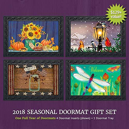 - Briarwood Lane Seasonal Doormat Gift Set - 4 Doormat Inserts and Rubber Mat Tray