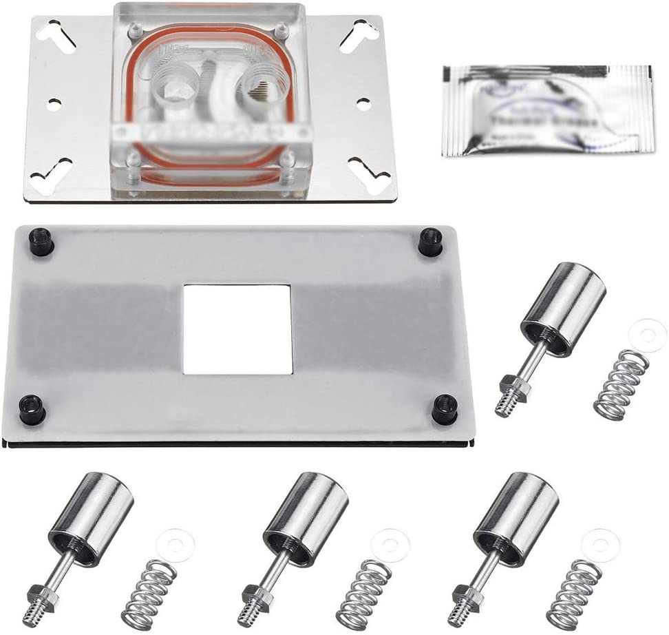 Color : Silver, Size : One Size Wagsuyun Cooling Cabinet Fan Red Copper Plate CPU Water Cooling Block Waterblock 0.3mm Water Channel Injection Compatible with AMD AM4