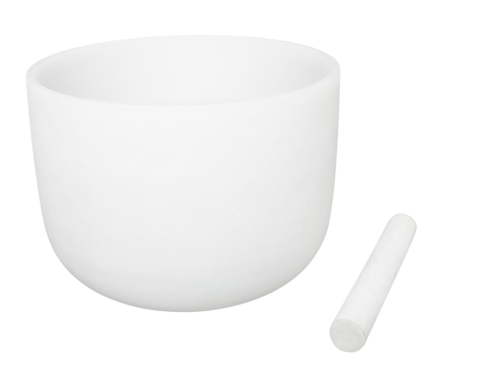 White Frosted Singing Bowls F Note Crystal Singing Bowl Heart Chakra 8 Inch Best Quality Suede Mallet Included by UBTer