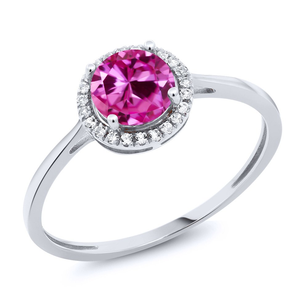 10K White Gold Diamond Engagement Ring Round Pink Created Sapphire (1.22 cttw, Available in size 5, 6, 7, 8, 9)