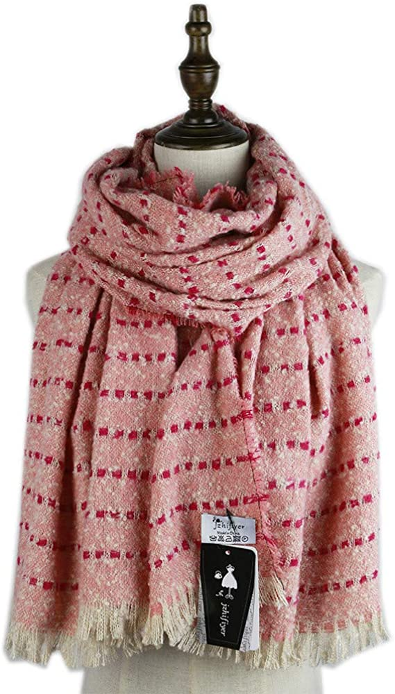 AiNaMei Bufanda de punto de rayas gruesas de otoño e invierno para hombres y mujeres chal grueso
