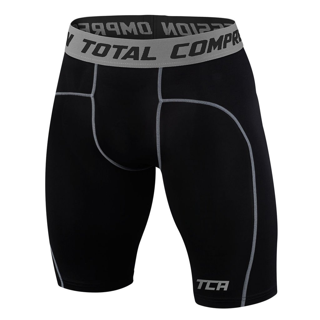 TCA Men's Boys Pro Performance Compression Base Layer Thermal Under Shorts - Black Stealth 6-8 Years by TCA