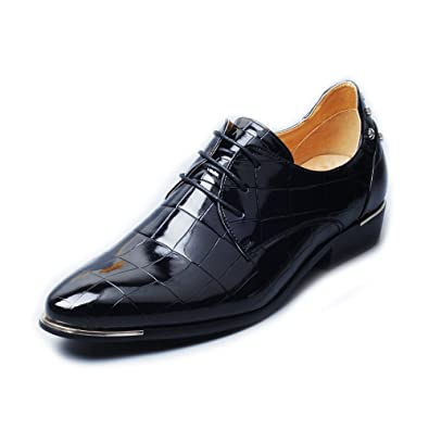 Ruanyi PU-Lederschuhe Classic Lace up Square Textur Formal Ausgekleidet Oxfords Business-Schuhe für Männer (Farbe : Red, Size : 38 EU)