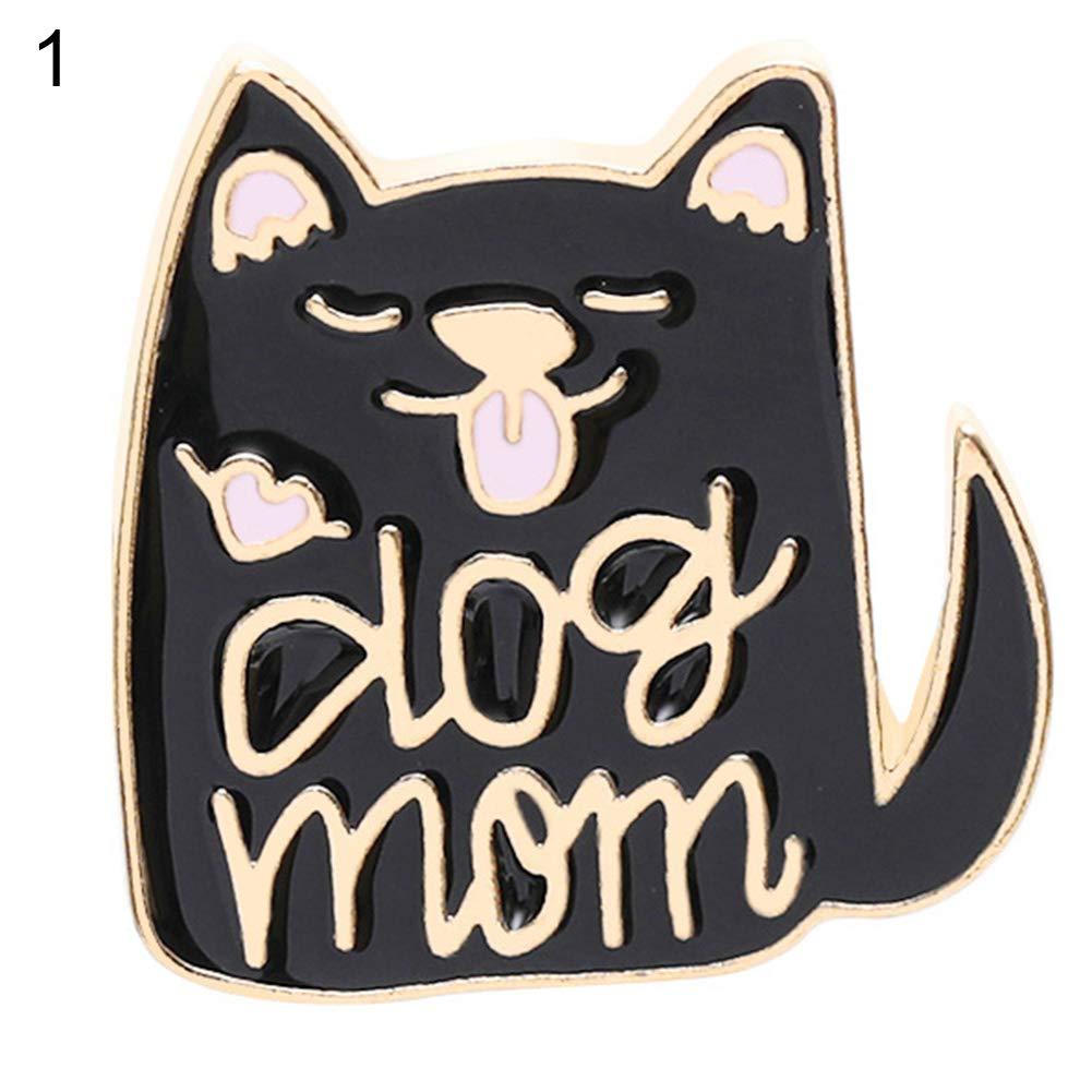 Kalaokei Women Fashion English Letter Dog Cat Lady Badge Brooch Pin Clothes