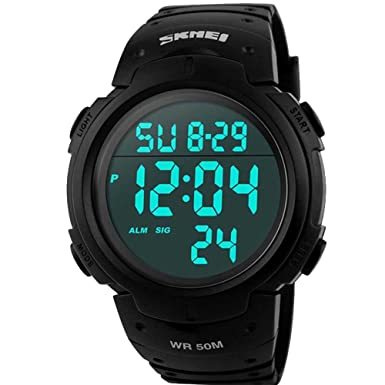 Sport Watch, 50M Waterproof Watch, Sport Wrist Watch for Men Women Kids, Digital Watch with Alarm Date and Time Outdoor Running Swimming Black Military Large Display Luminous Sport Digital Wrist Watch