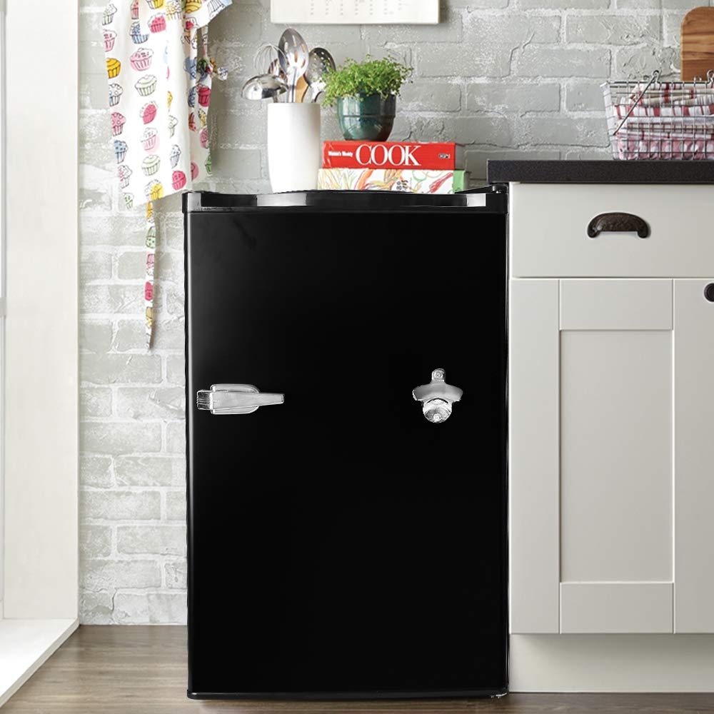 Tavata Compact Refrigerator - 3.2 Cu Ft Countertop Single Door Mini Fridge with Bottle Opener,Freezer,Handle and Reversible Door,Small Drink Chiller for Home, Office,Dorm or RV(Black)