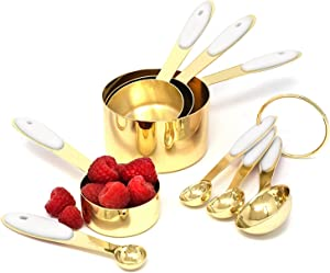 White & Gold Measuring Cups and Spoons Set - Cute Measuring Cups -8PC Gold Stainless Steel Measuring Cups and Spoons Set with White Silicone Handle - Gold Kitchen Accessories -Metal Measuring Cups Set