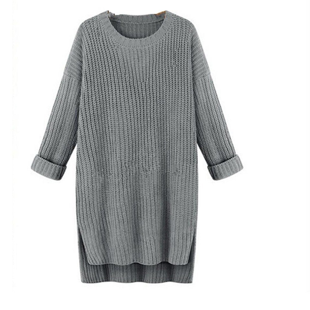 Boomboom Women Casual Solid Loose O Neck Knitted Sweaters Dress (Gray)