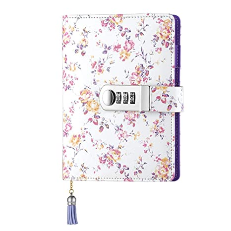 JunShop Floral Password With Lock Diary PU Leather Multi Color Combination Lock Journal (Combination Lock Diary) A6 Refillable Leather ...