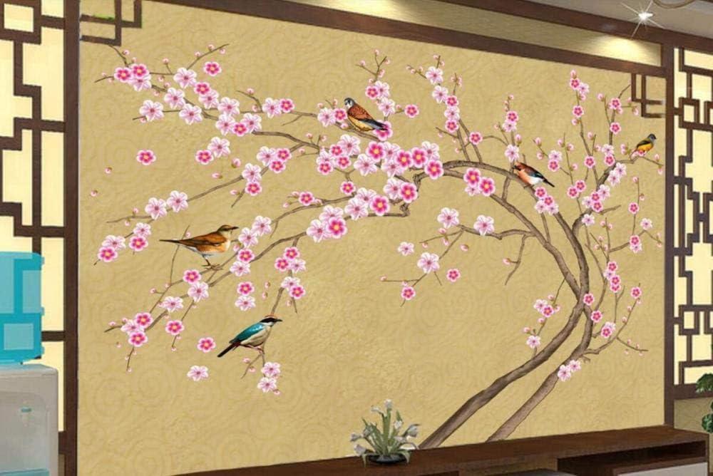 Papier Peint 3D Fleurs Et Oiseaux Peints /À La Main De Style Chinois Salon Chambre Bureau Couloir D/écoration Peinture Mural 350x250cm