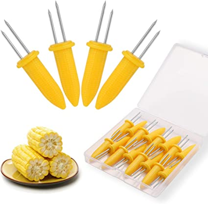 Yardwe 6 Pcs Stainless Steel Corn Holders with Wooden Handle for BBQ Twin Prong Sweetcorn Holders Home Cooking Fork/ï/¼/Œ Safe for Kids and Adults BBQ Size 1
