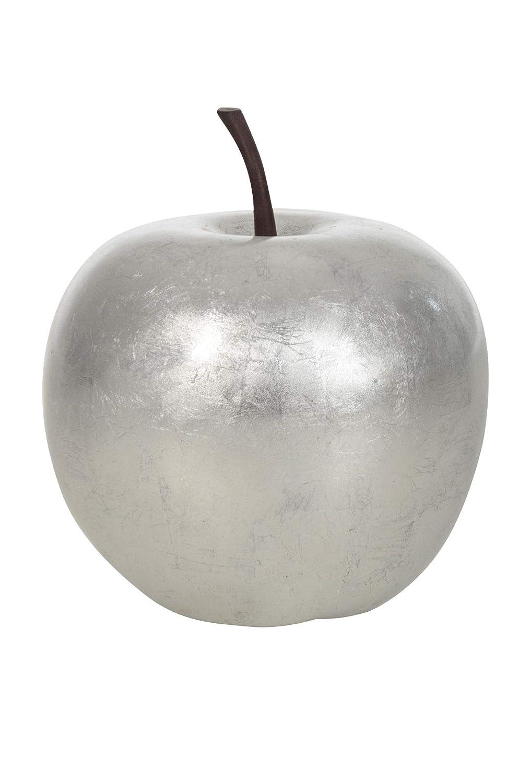 Vivanno Deko-Obst Deko-Apfel Kunstapfel Fiberglas Silber Hochglanz - 13 x 16 x 16 cm AE Trade