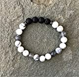 Rock Crystal and Howlite Aromatherapy Diffuser Bracelet - 7 Inch Size