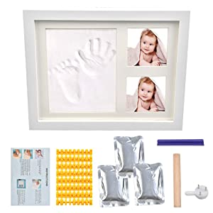TIMESETL Baby Handprint & Footprint Kit - Picture Frame, Clay, Wood Roller, Alphabet, Date Stamp and Instructions - Hand & Foot Impression Photo Keepsake for Girl & Boy