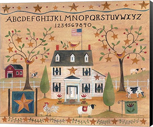 - Star Bird Farm Sampler Cheryl Bartley Canvas Art Wall Picture, Museum Wrapped Black Sides, 21 x 18 inches