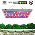 300W LED Grow Light, Relassy 338 LEDs Reflector 16-Band Full Spectrum Plant Lights for Indoor Plants Veg and Flower with Auto On/Off Timer Function
