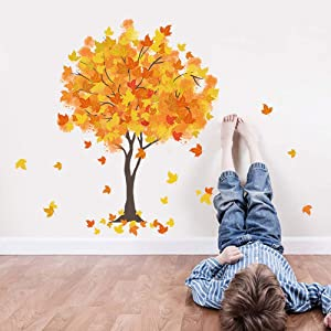 SuperDuo Fall Maple Tree Wall Stickers with Yellow Leaf Wall Decor Decals Bring Autumn Maple Trees and Fluttering Maple Leaves into The Kids Bedroom Living Room Nursery Rooms Offices (Maple Leaf)