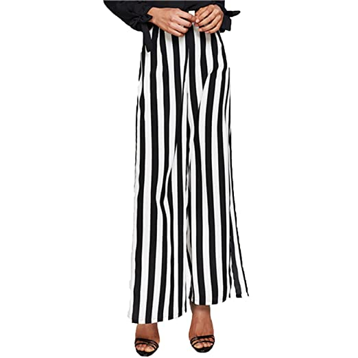 8091f9d2758 Unique-Shop High Slit Pants 2018 Summer Black and White Striped Cool Trousers  Women Pants at Amazon Women s Clothing store