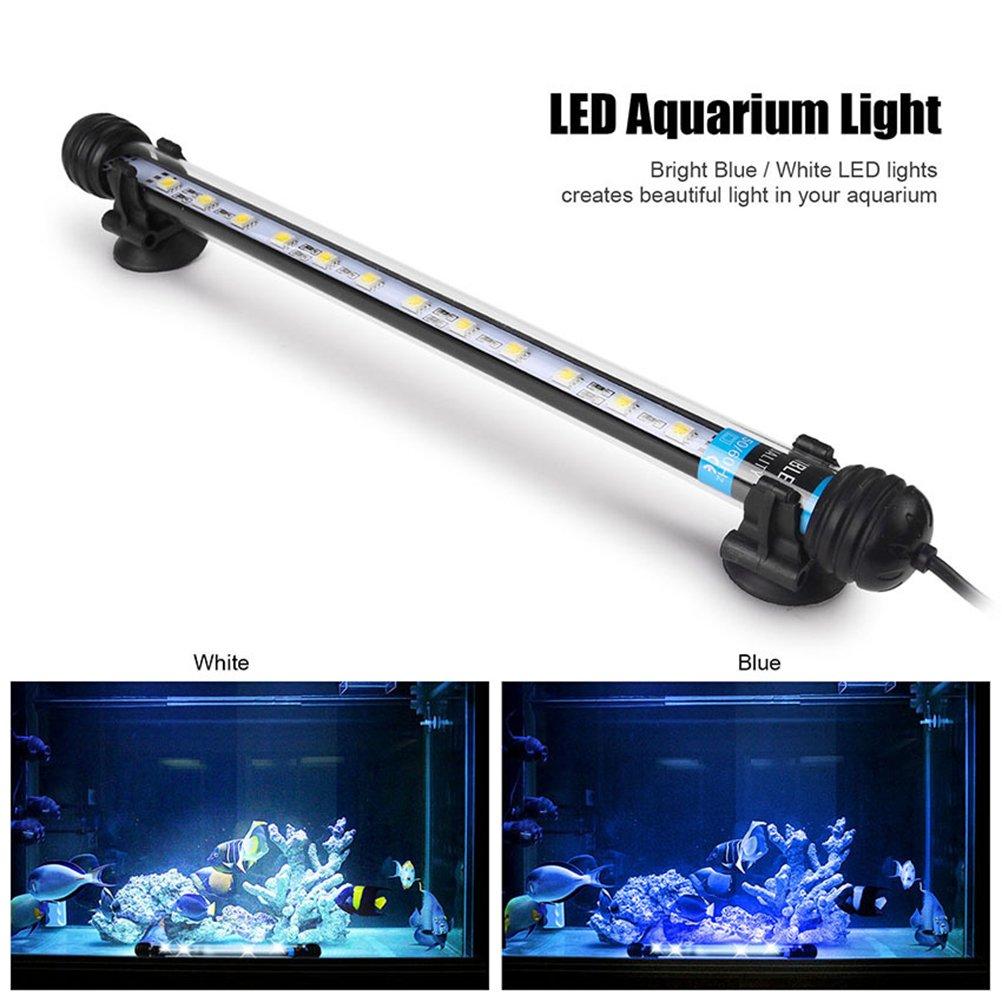 UEETEK 28CM LED Pecera luces de iluminaci/ón del acuario 5050 SMD RGB barra de luz bajo el agua sumergible impermeable Clip l/ámpara Blanco Europa est/ándar Plug