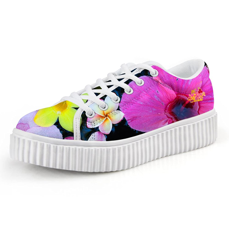 CHAQLIN Vintage Floral Women's Walking Sneaker Casual Platform Shoes