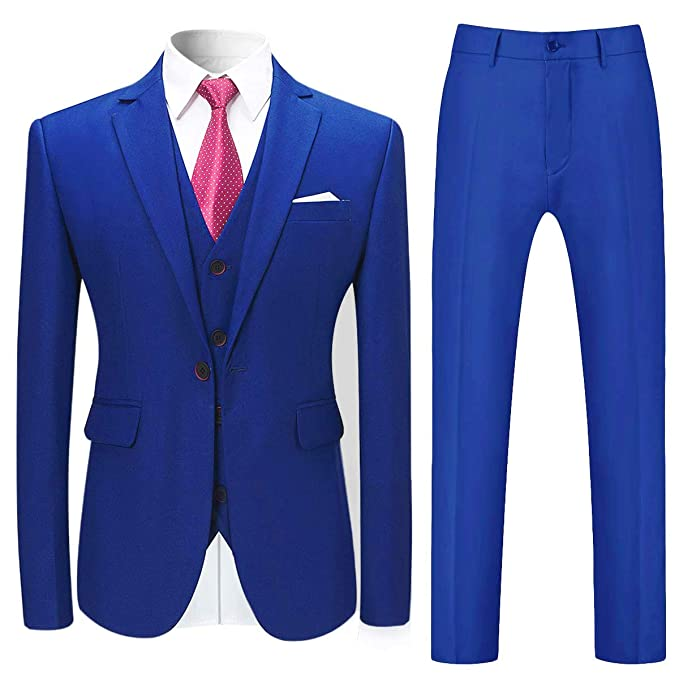 Amazon.com: Mage macho para hombre sólido 3 piezas traje de ...